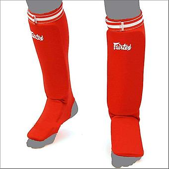 Fairtex elastic competition shin guards - red