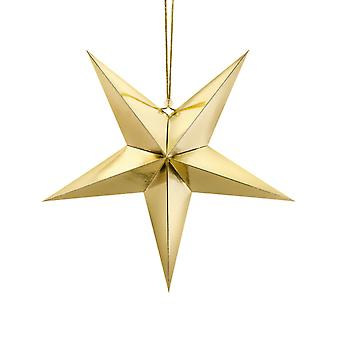 Gold Metallic Foil Hanging Paper Star Christmas Party Decoration - 70cm