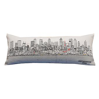 Spura Home Atlanta Skyline Embroidered Wool Queen Size Pillow Day/Night Cushion