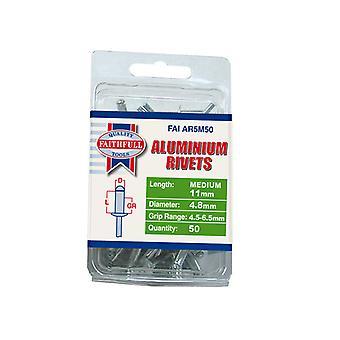Faithfull Aluminium Rivets 4.8mm x 11mm Medium Pre-Pack of 50 FAIAR5M50