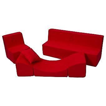 Muebles para niños pequeños completamente rojos