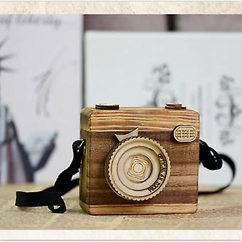 Creative Handmade Wooden Craft Music Box Clockwork Camera For's Birthday -