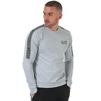 Ea7 men's light grey melange tracksuit sweatshirt