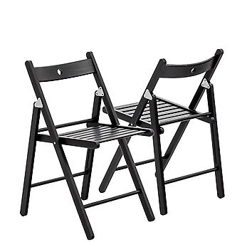 Wooden Folding Chairs - Black Wood Colour - Pack of 4