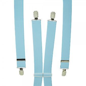 Ties Planet Plain Sky Blue Men's Trouser Braces - Clip d'argento