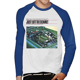 Austin Healey Just Lift The Bonnet British Motor Heritage Men's Baseball Long Sleeved T-Shirt