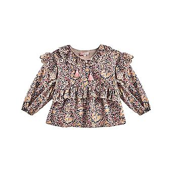 Autumn Season, Kids Shirts, Beauty Flower Print, Long Sleeve Blouses Tops Set-2