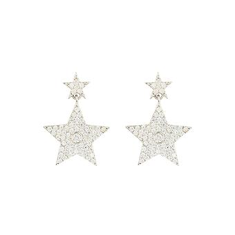 Star Double Drop Earrings White 925 Sterling Silver CZ Bridal Gift
