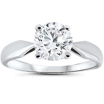 """טבעת אירוסין סוליטר יהלום משופר 1/2ct 4-2ct 14 ק""""מ זהב לבן"""