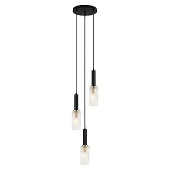 Pendentif suspendu moderne noir, or 3 lumière, E14