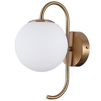 Italux Gela - Lampada da parete industriale e retrò Honey Brass 1 Light con tonalità bianca, G9