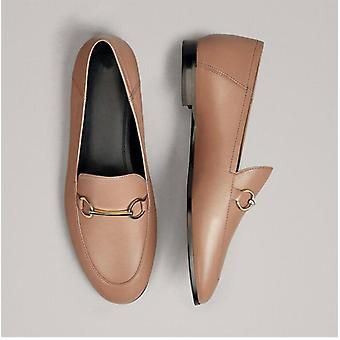 Summer Office Simple Genuine Leather Slip-on Loafers Women Shoes