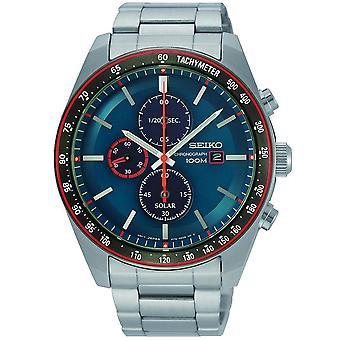 Seiko SSC717P1 Turkoosi & hopea ruostumaton teräs kronografi Solar Men's Watch