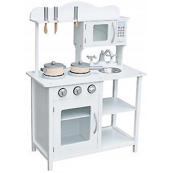 Cucina per bambini in legno con attrezzatura - bianca - 7 accessori