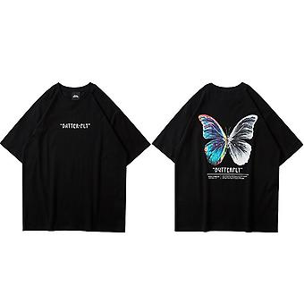Streetwear Harajuku Butterfly Short Sleeve Cotton Loose Hiphop T-shirt