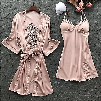 Women Robe Gown Sets Satin Pajamas Embroidery Hollow Out Ladies Home Wear Night