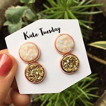 Double Druzy Earrings Set