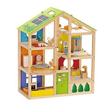 Hape e3401 toda a casa da temporada- casa de bonecas de madeira totalmente mobiliada