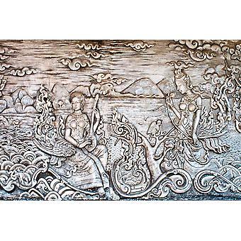 Fondo de pantalla Mural pared de madera tallada (118551