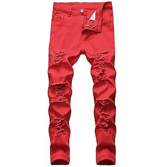 Men Denim Trousers Fashion Designer White Jean