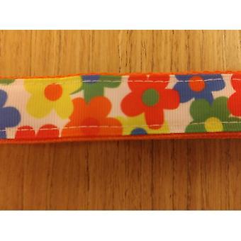 Leine / große / bunte Blumen auf Orange