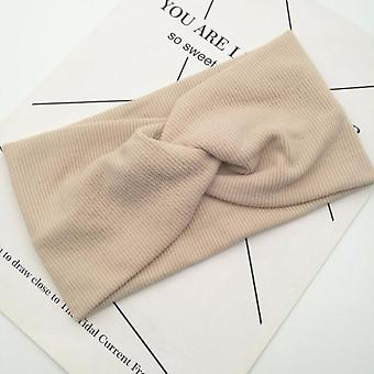 Cute Solid Color Baby Turban, Cotton Twisted Knotted Headband, Elastic