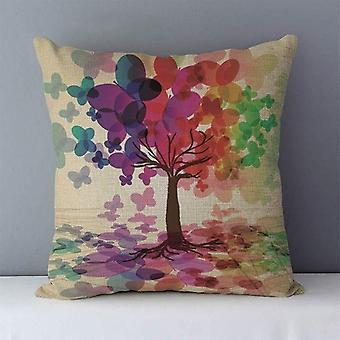 Cozy Colorful Plants Life Trees Printed Cushion For Couch Seat Back Home
