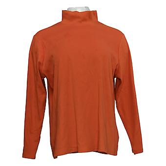 Denim & Co. Women's Top Interlocking Mock Neck Long Sleeve Orange A385295