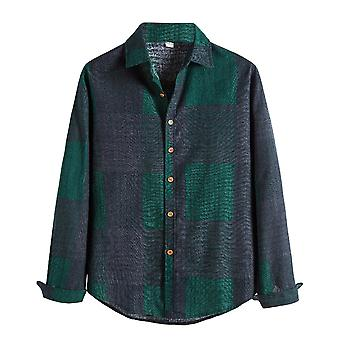 Allthemen Men's Long-Sleeve Regular-fit Casual Poplin Shirt Green Square