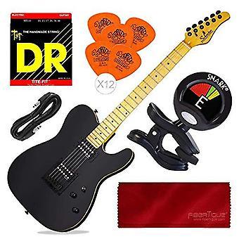 Schecter pt elektrisk gitar (glans svart) med tuner og tilbehør bunt