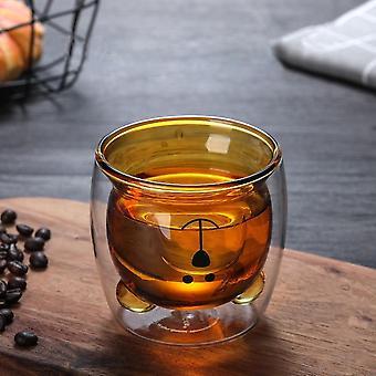 Skandinaavinen tyyli luova söpö karhu kaksinkertainen seinäinen juomamuki