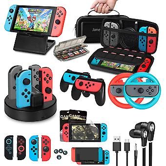 Accessories Bundle for Nintendo Switch, Jane Choi Accessories Kit with Carrying Case, Joycon Grips