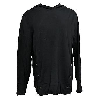 أي شخص المرأة الفرنسية تيري Sweatshirt ث / الجانب يستقر الأسود A367681