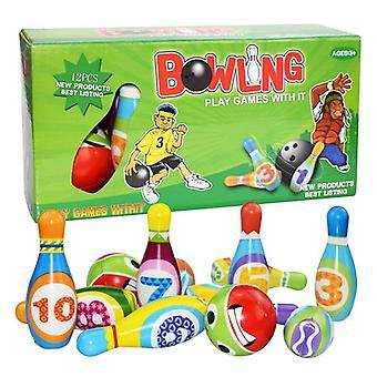 Barn Bowling Pu Solid Bowling Play Set Färgglada Mönster Bowling Leksaker