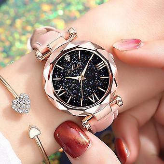 Casual Leather Quartz Wrist Watch Starry Sky Female Clock