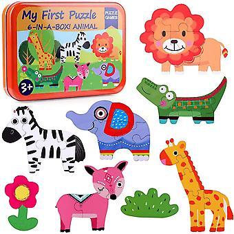 HanFei 6 in 1 Puzzle Kinder Holzpuzzle Tierpuzzle Tiere Spiel Mein erstes Puzzle Lernspielzeug Puzzle ab