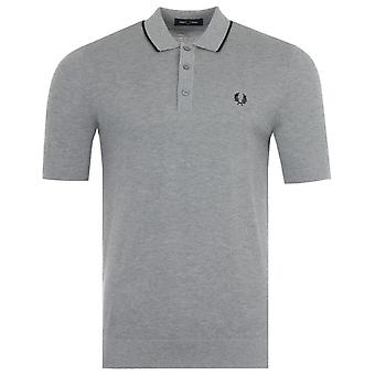 Fred Perry Tipped Knitted Polo Shirt - Steel Marl