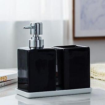 Bouteille désinfectante de main de gel de douche de salle de bains avec le plateau en bambou