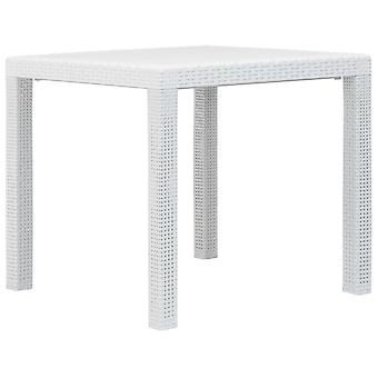 vidaXL Puutarhapöytä Valkoinen 79 x 79 x 72 cm Muovi Rottinki Optiikka