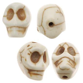 Final Sale - Koraliki z kamieni szlachetnych, turkusowy, kwadratowa rzeźbiona czaszka 12x10mm, 20 sztuk, biały