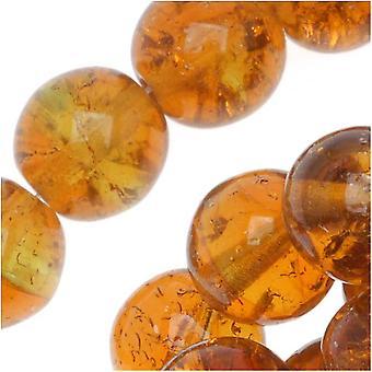 """זכוכית צ'כית דרוק חרוזים עגולים 8 מ""""מ קראקל טופז / ירוק (25)"""
