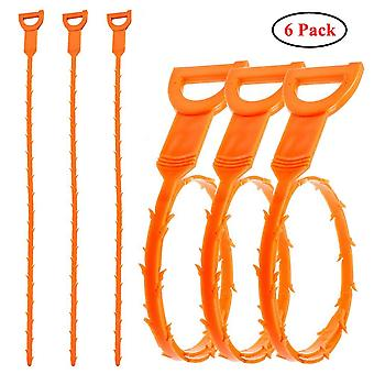6 Pack 20 Inch Drain Snake Drain Cleaner Drain Hair Catcher Remover Cleaning Tool