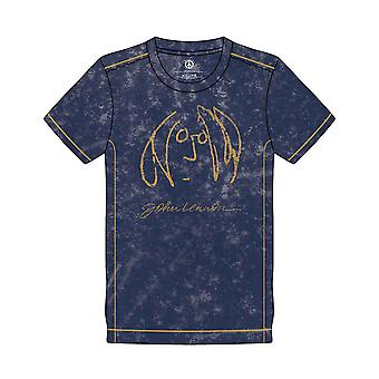 John Lennon T Shirt Self Portrait Logo new Official Mens Navy Blue Snow Wash