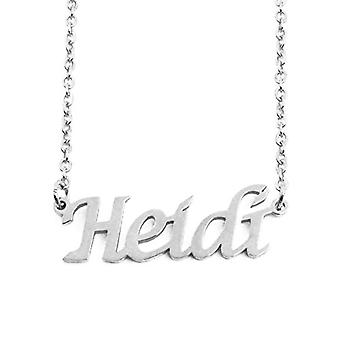 """L Heidi - Adjustable necklace with custom name, silver tone, 16""""- 19"""