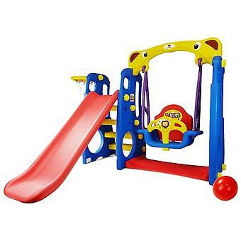 Trädgårdslekplatsutrustning Lion med Slide & Swing - Blå röd