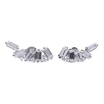 Diamonfire Womens 925 Sterling Silver Rhodium, Palladium &Platinum Plated Clear Baguette Cut Cubic Zirconia Cluster Crawler Stud Earrings