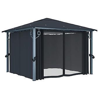 vidaXL paviljoen met gordijnen 300×300 cm antraciet aluminium
