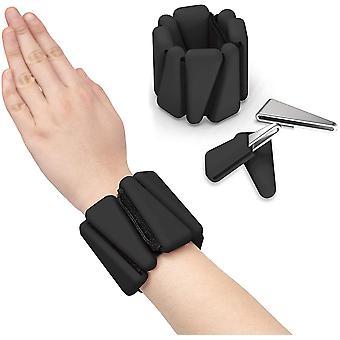 Black 2 pcs wrist weight silicone bracelet adjustable wrist strap ankle strength training wristband cai1408