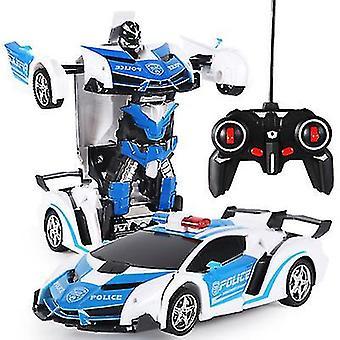 White remote control deformation robot police car remote control toy children charging toy az6760
