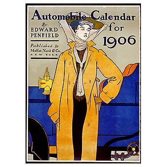 Vintage Reklame Plakat Automobile Kalender for 1906 - Lærred Print, Wall Art Decor